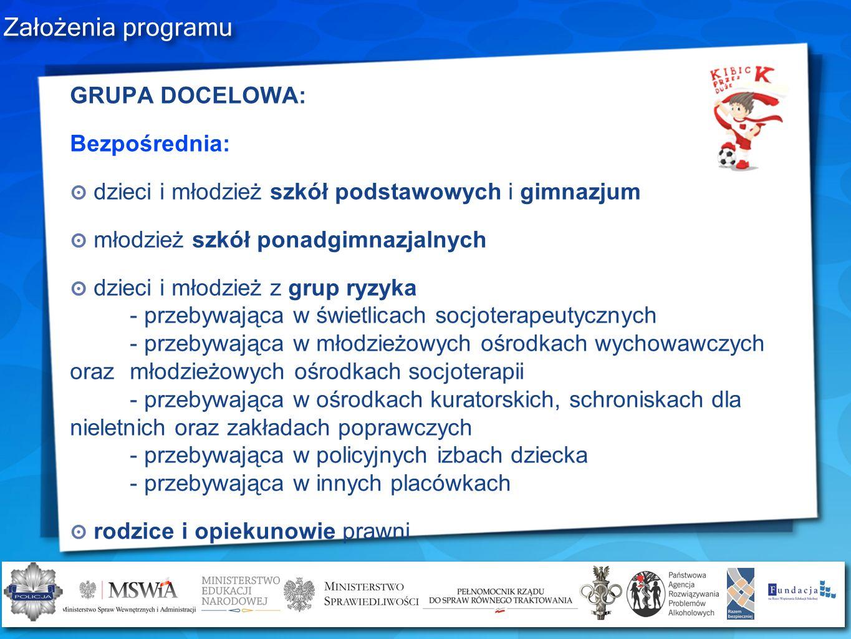 Założenia programu GRUPA DOCELOWA: Bezpośrednia: