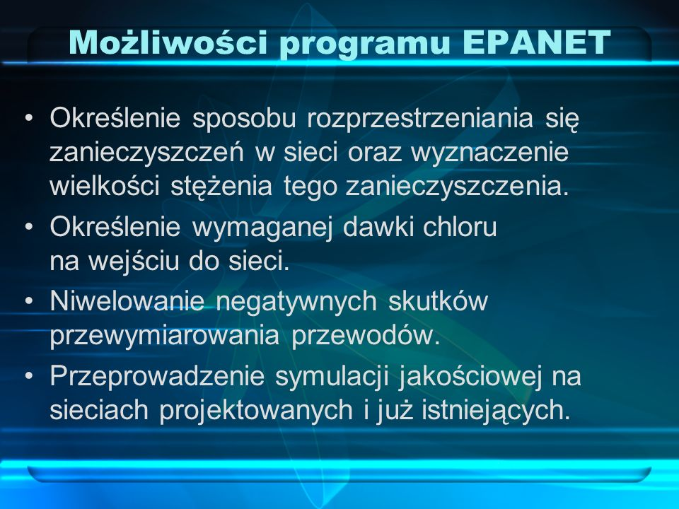 Możliwości programu EPANET
