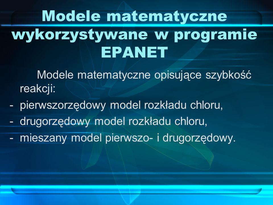 Modele matematyczne wykorzystywane w programie EPANET