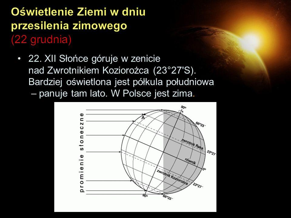 Oświetlenie Ziemi w dniu przesilenia zimowego (22 grudnia)