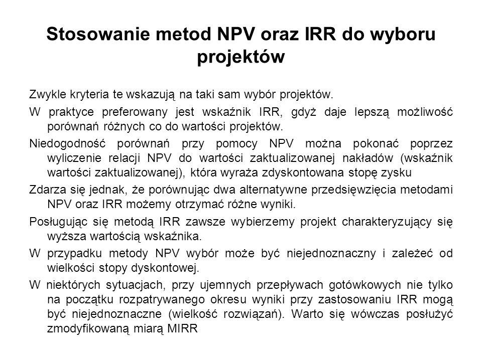 Stosowanie metod NPV oraz IRR do wyboru projektów