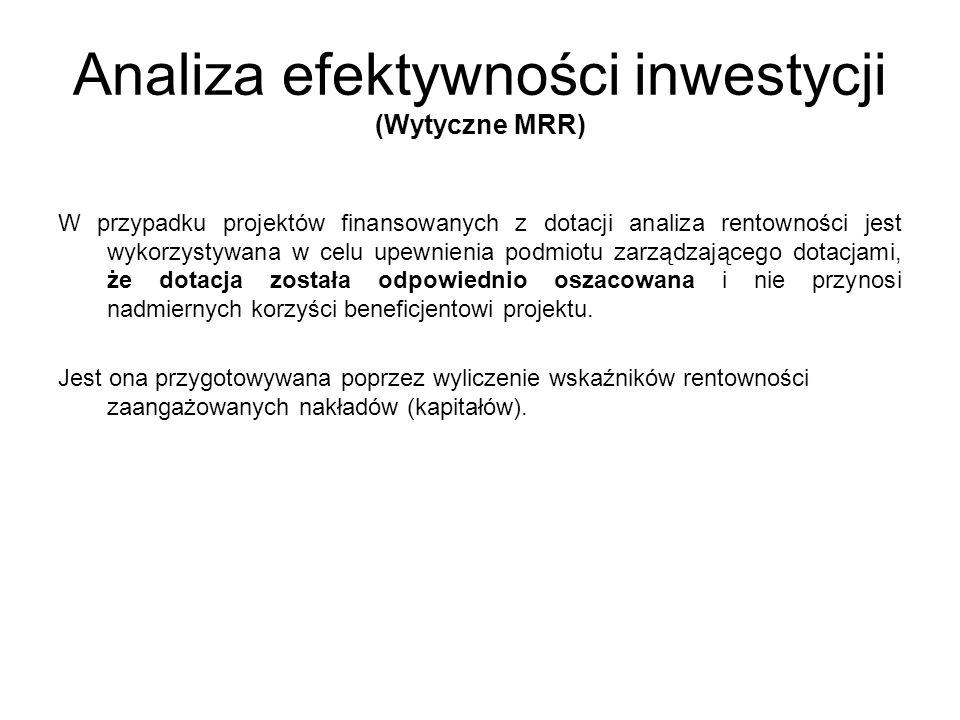 Analiza efektywności inwestycji (Wytyczne MRR)