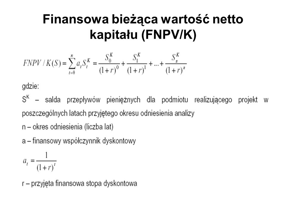 Finansowa bieżąca wartość netto kapitału (FNPV/K)