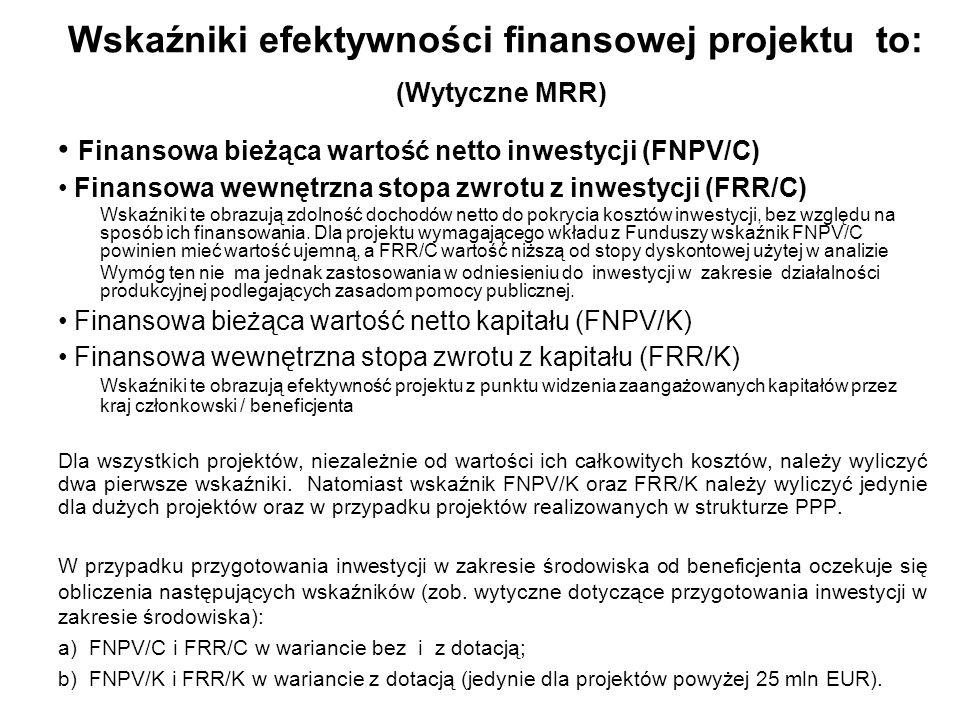 Wskaźniki efektywności finansowej projektu to: (Wytyczne MRR)