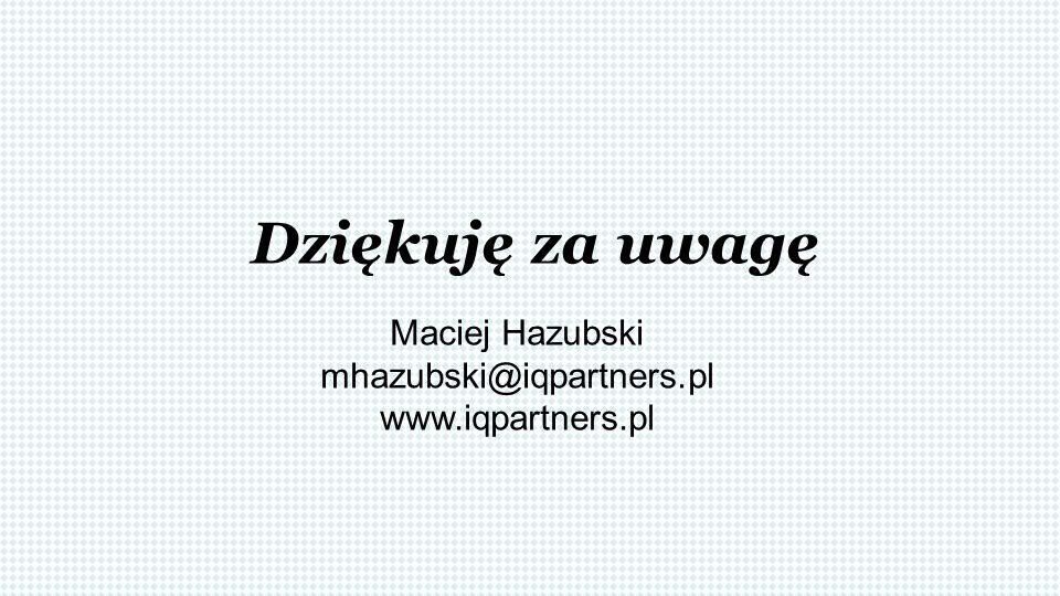 Dziękuję za uwagę Maciej Hazubski mhazubski@iqpartners.pl