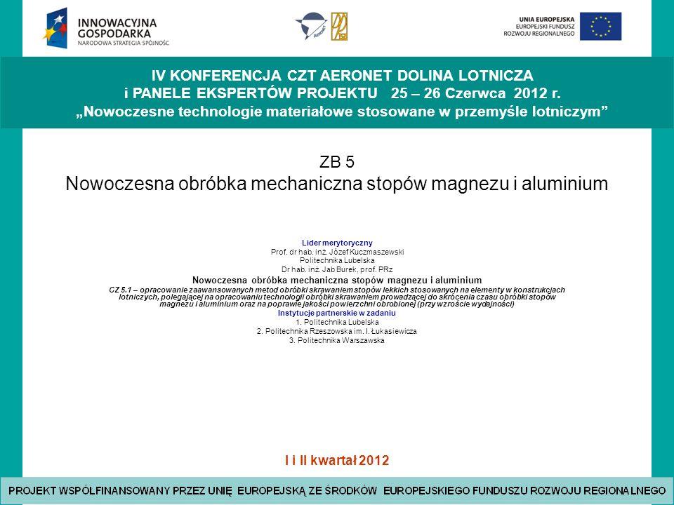 ZB 5 Nowoczesna obróbka mechaniczna stopów magnezu i aluminium