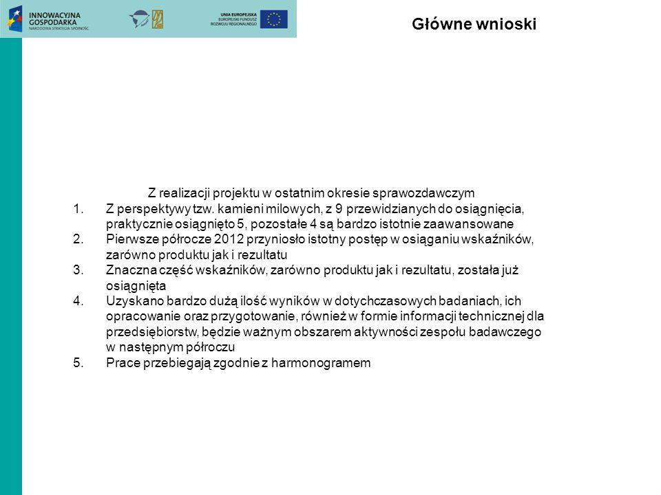 Z realizacji projektu w ostatnim okresie sprawozdawczym