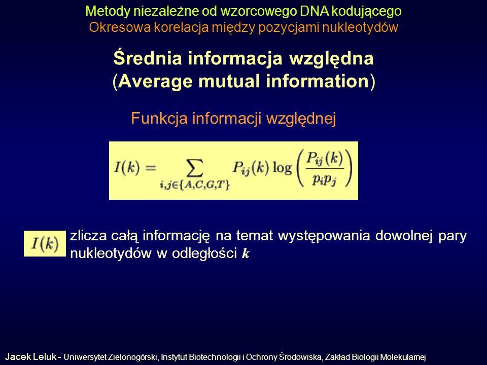 Średnia informacja względna (Average mutual information)