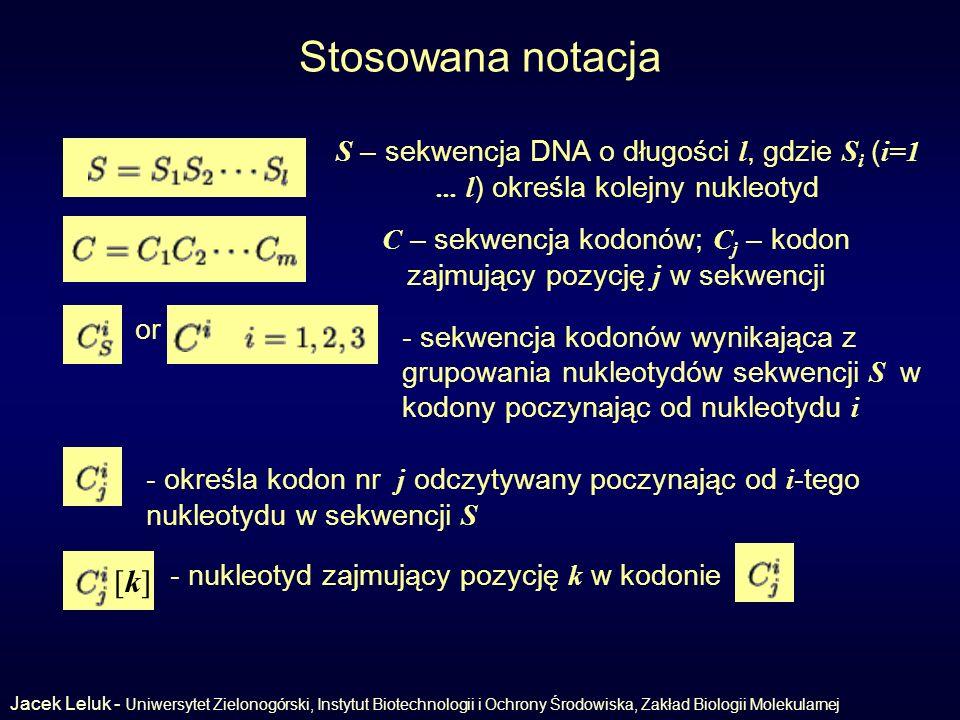 C – sekwencja kodonów; Cj – kodon zajmujący pozycję j w sekwencji