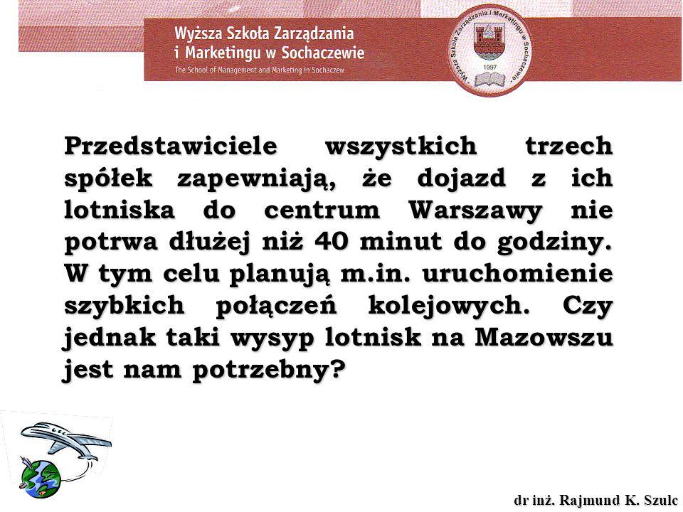 Przedstawiciele wszystkich trzech spółek zapewniają, że dojazd z ich lotniska do centrum Warszawy nie potrwa dłużej niż 40 minut do godziny.