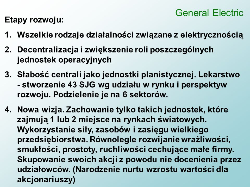 General Electric Etapy rozwoju: