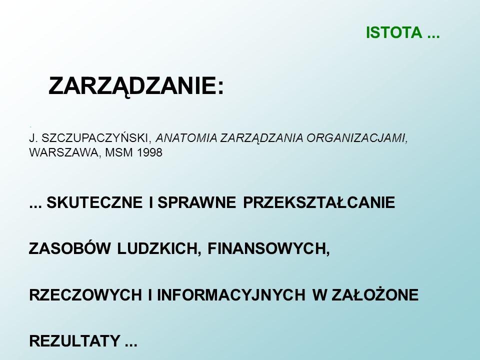 ISTOTA ... ZARZĄDZANIE: . J. SZCZUPACZYŃSKI, ANATOMIA ZARZĄDZANIA ORGANIZACJAMI, WARSZAWA, MSM 1998.