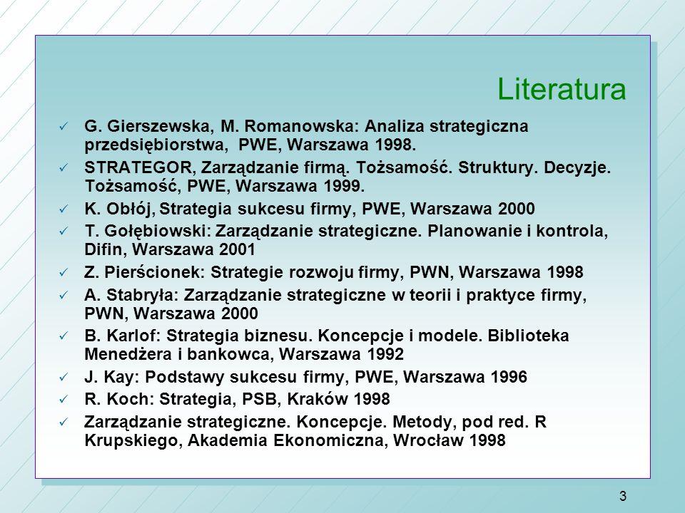 Literatura G. Gierszewska, M. Romanowska: Analiza strategiczna przedsiębiorstwa, PWE, Warszawa 1998.