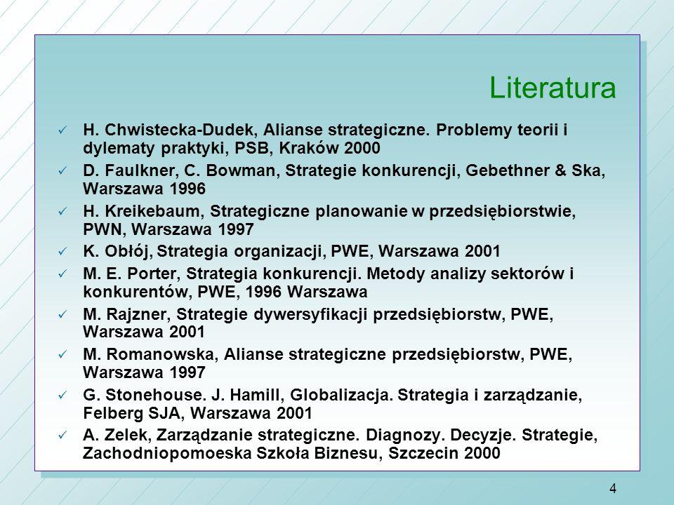 Literatura H. Chwistecka-Dudek, Alianse strategiczne. Problemy teorii i dylematy praktyki, PSB, Kraków 2000.