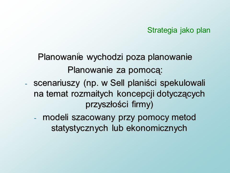 Planowanie wychodzi poza planowanie Planowanie za pomocą: