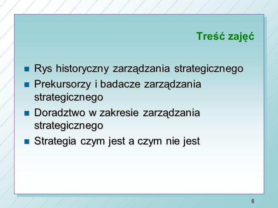 Treść zajęć Rys historyczny zarządzania strategicznego. Prekursorzy i badacze zarządzania strategicznego.