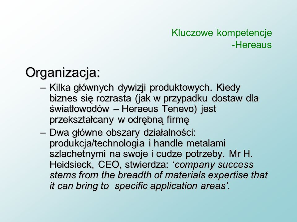 Kluczowe kompetencje -Hereaus