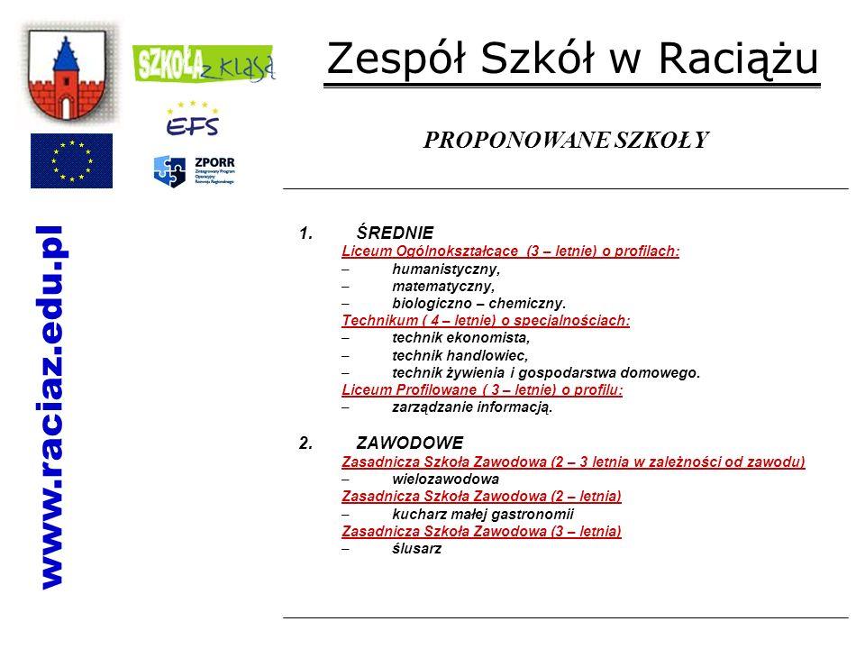 Zespół Szkół w Raciążu www.raciaz.edu.pl PROPONOWANE SZKOŁY ŚREDNIE