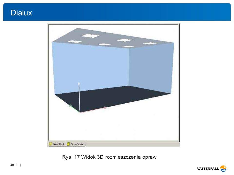 Dialux Rys. 17 Widok 3D rozmieszczenia opraw.