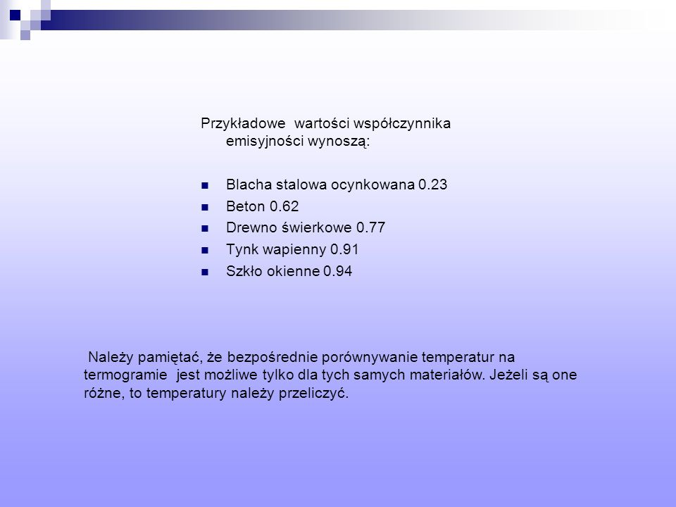 Przykładowe wartości współczynnika emisyjności wynoszą: