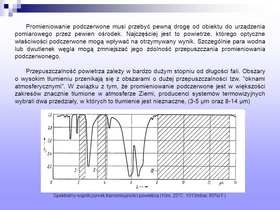 Promieniowanie podczerwone musi przebyć pewną drogę od obiektu do urządzenia pomiarowego przez pewien ośrodek. Najczęściej jest to powietrze, którego optyczne właściwości podczerwone mogą wpływać na otrzymywany wynik. Szczególnie para wodna lub dwutlenek węgla mogą zmniejszać jego zdolność przepuszczania promieniowania podczerwonego.
