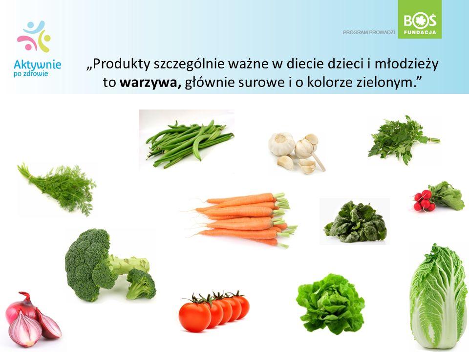 """""""Produkty szczególnie ważne w diecie dzieci i młodzieży to warzywa, głównie surowe i o kolorze zielonym."""