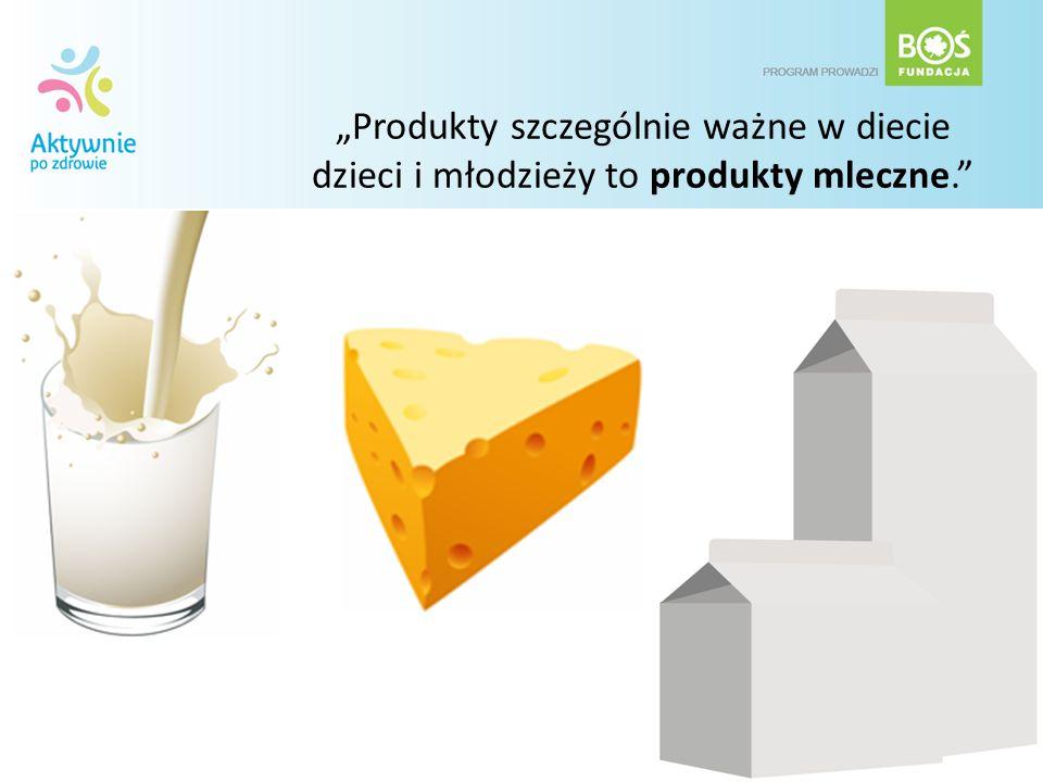 """""""Produkty szczególnie ważne w diecie dzieci i młodzieży to produkty mleczne."""