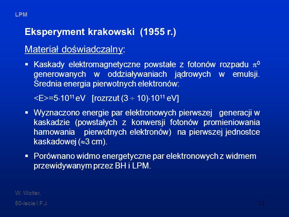 Eksperyment krakowski (1955 r.) Materiał doświadczalny: