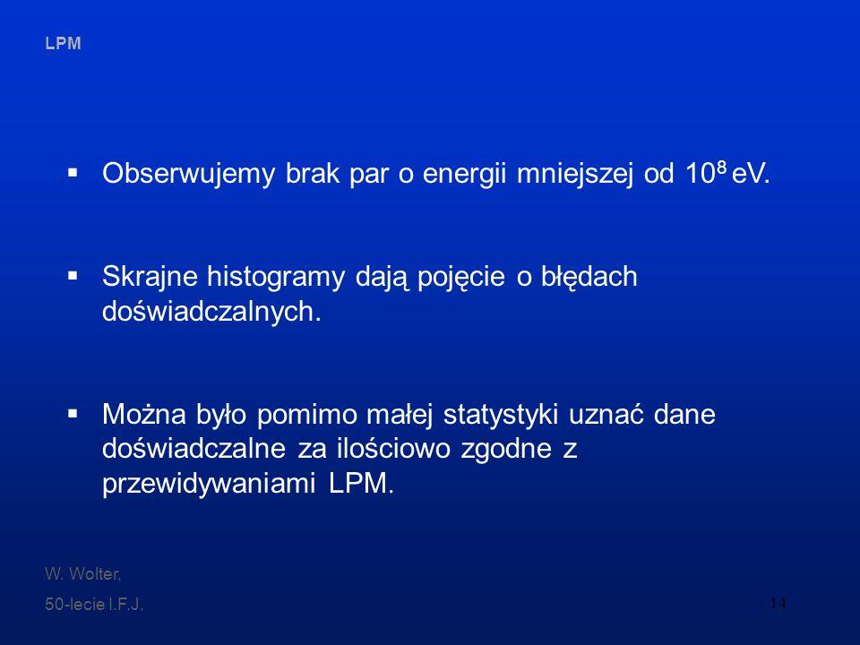 Obserwujemy brak par o energii mniejszej od 108 eV.