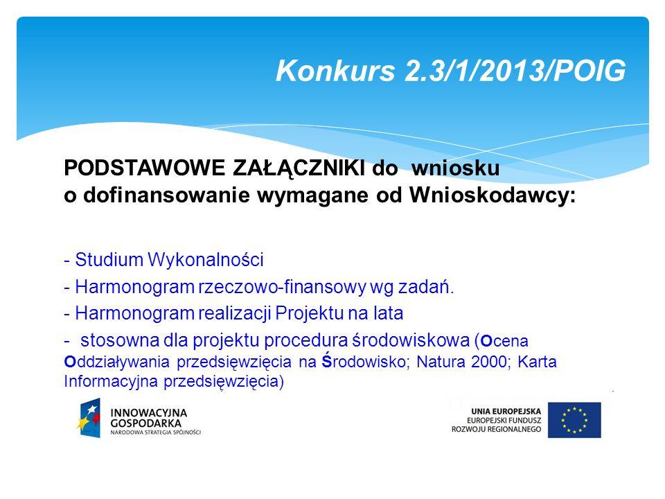 Konkurs 2.3/1/2013/POIG PODSTAWOWE ZAŁĄCZNIKI do wniosku o dofinansowanie wymagane od Wnioskodawcy: