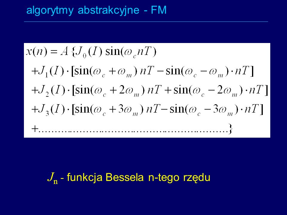 Jn - funkcja Bessela n-tego rzędu