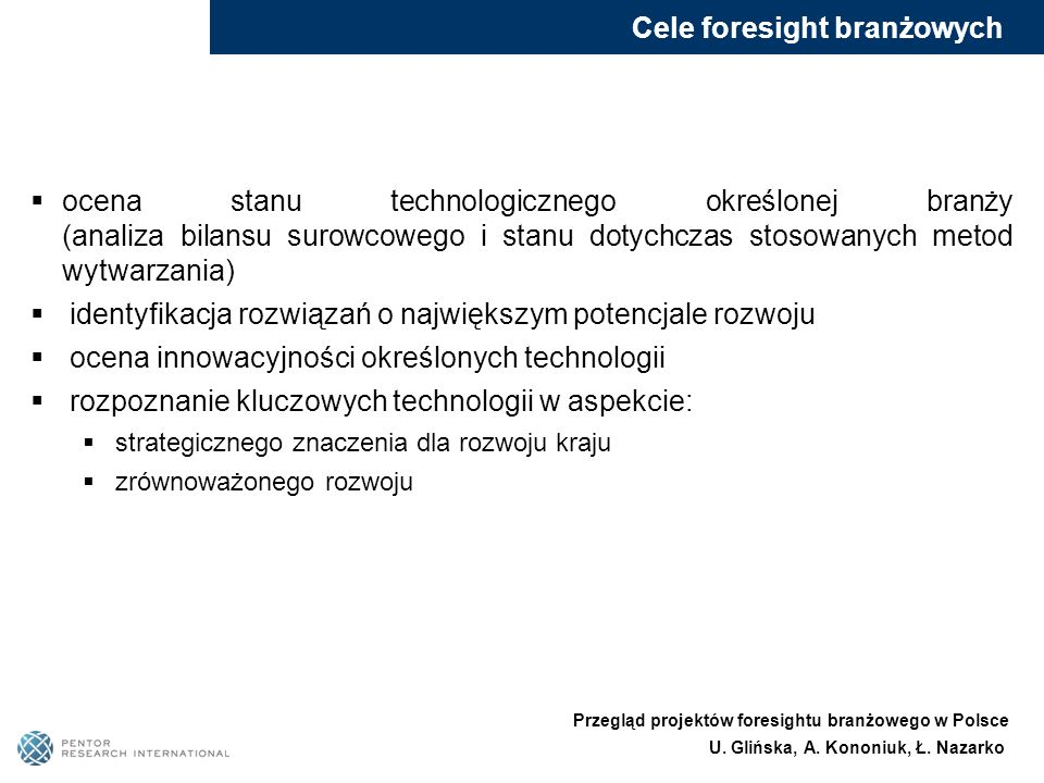 Cele foresight branżowych