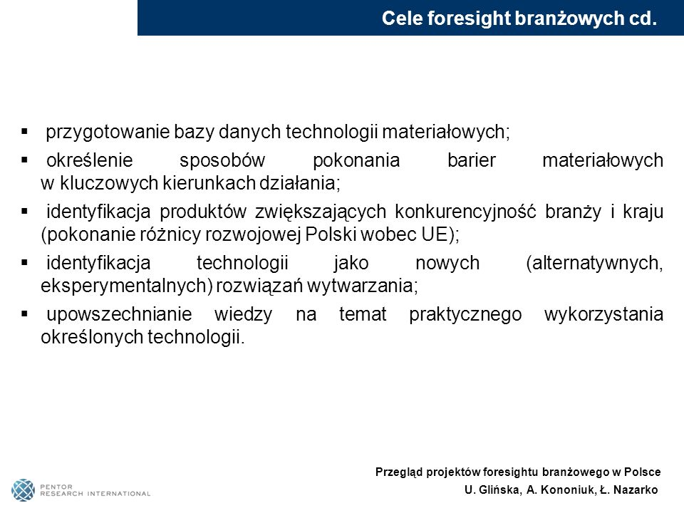 Cele foresight branżowych cd.