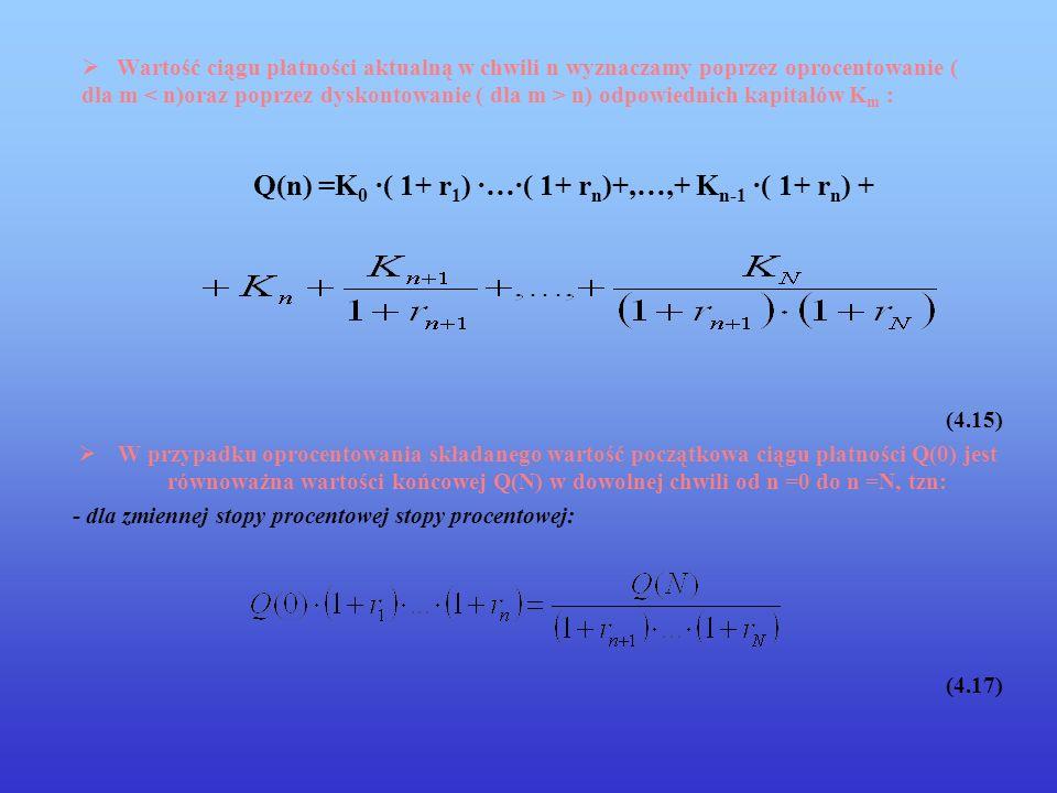 Q(n) =K0 ·( 1+ r1) ·…·( 1+ rn)+,…,+ Kn-1 ·( 1+ rn) +
