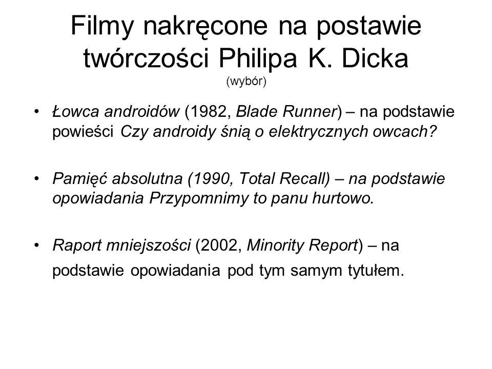 Filmy nakręcone na postawie twórczości Philipa K. Dicka (wybór)