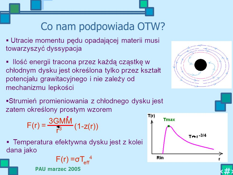 · Co nam podpowiada OTW 3GMM F(r) = (1-z(r)) r3 F(r) =σTeff4
