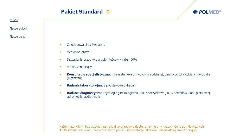 Pakiet Standard O nas Nasze usługi Nasze ceny