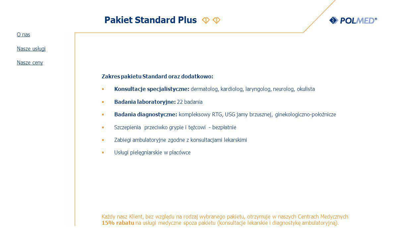 Pakiet Standard Plus O nas Nasze usługi Nasze ceny