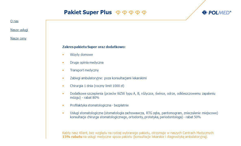 Pakiet Super Plus O nas Nasze usługi Nasze ceny
