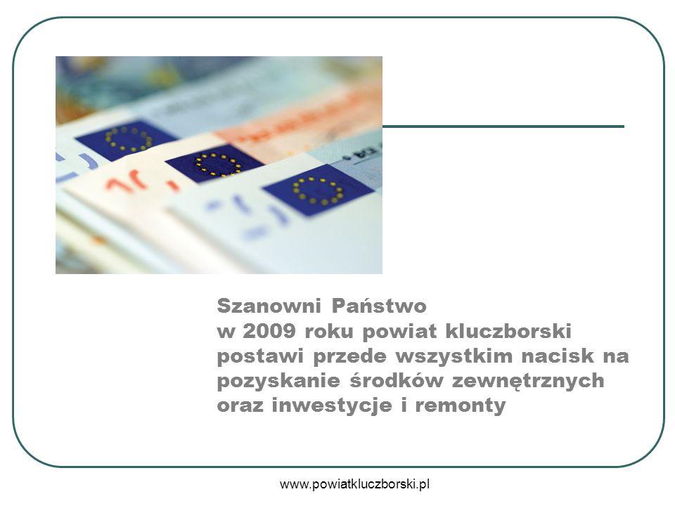 Szanowni Państwo w 2009 roku powiat kluczborski postawi przede wszystkim nacisk na pozyskanie środków zewnętrznych oraz inwestycje i remonty