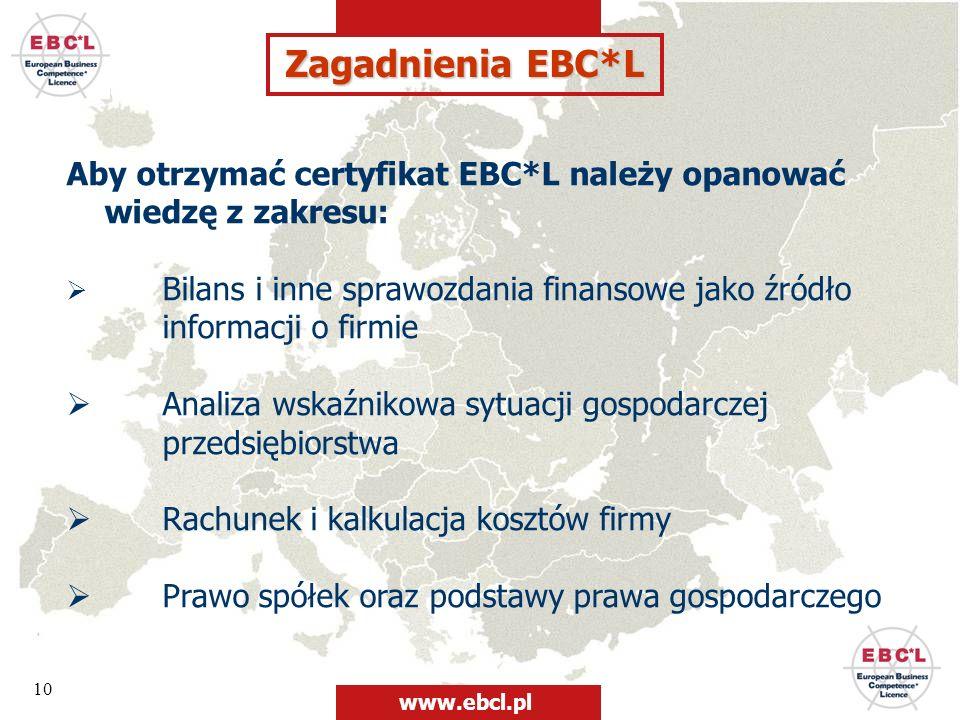 Zagadnienia EBC*L Aby otrzymać certyfikat EBC*L należy opanować wiedzę z zakresu: