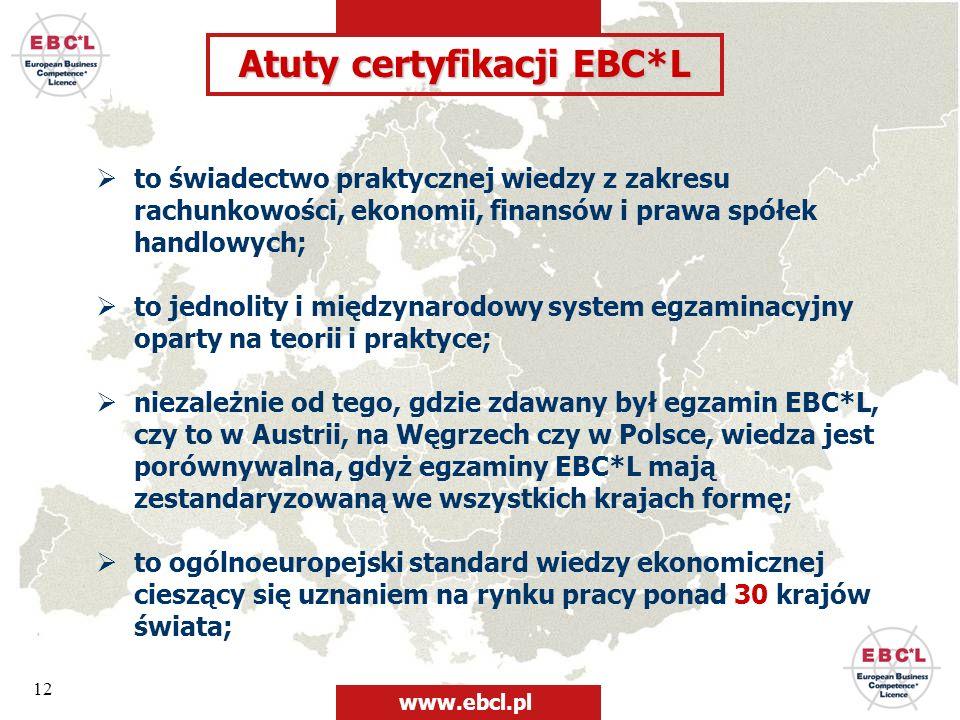 Atuty certyfikacji EBC*L