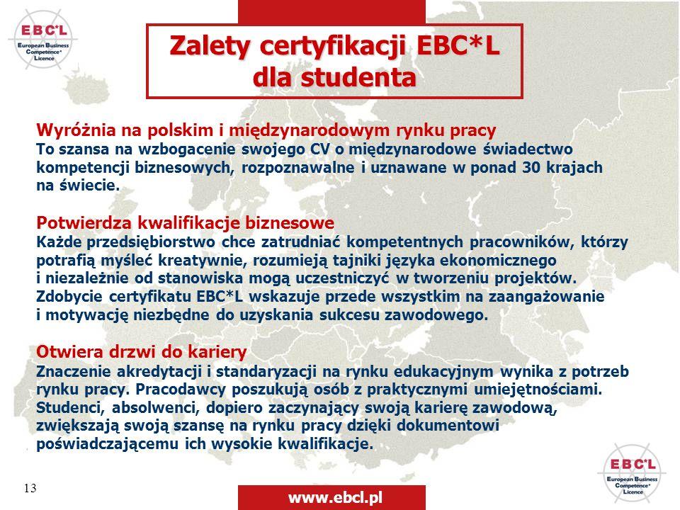 Zalety certyfikacji EBC*L dla studenta