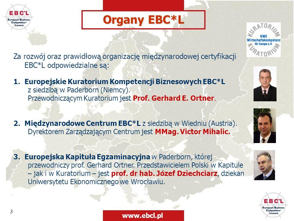 Organy EBC*LZa rozwój oraz prawidłową organizację międzynarodowej certyfikacji EBC*L odpowiedzialne są: