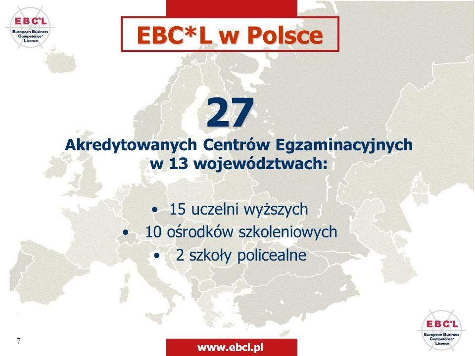 27 Akredytowanych Centrów Egzaminacyjnych w 13 województwach: