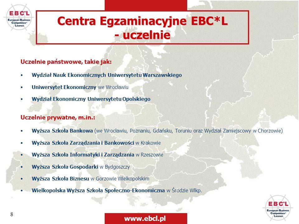 Centra Egzaminacyjne EBC*L - uczelnie