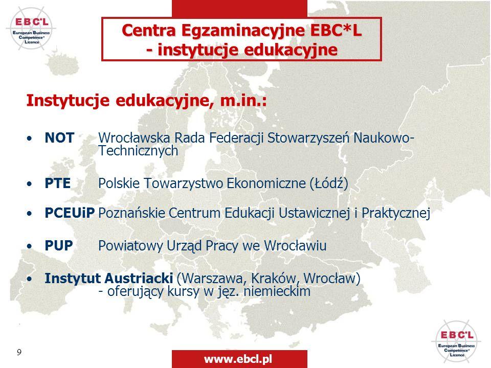Centra Egzaminacyjne EBC*L - instytucje edukacyjne