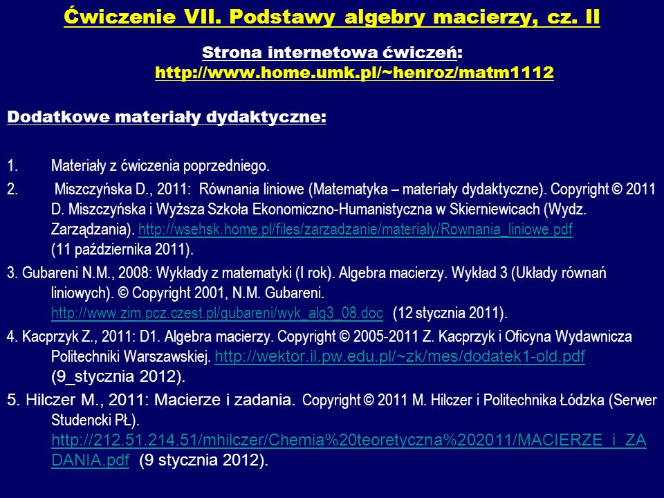 Ćwiczenie VII. Podstawy algebry macierzy, cz. II