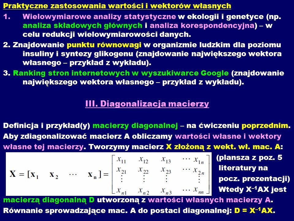 III. Diagonalizacja macierzy