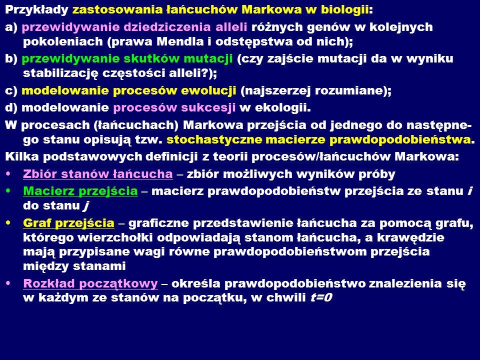 Przykłady zastosowania łańcuchów Markowa w biologii: